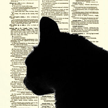 Dictionary Art Page, Cat Art Print, Antique Dictionary Page, Animal Decor, Cat Silhoutette