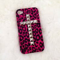 SALE hot pink leopard upright down cross studded iphone 4/4S case ,studded iphone case,handmade iphone case,iphone 4 case,iphone 4s case