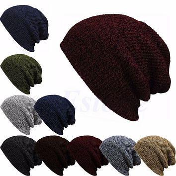 Winter Casual Cotton Knit Hats For Women Men Baggy Beanie Hat Crochet Slouchy Oversized Ski Cap Warm Skullies Toucas Gorros
