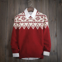 Fashion Men's Comfortable FAIR ISLE Ethnic Knitted Sweater