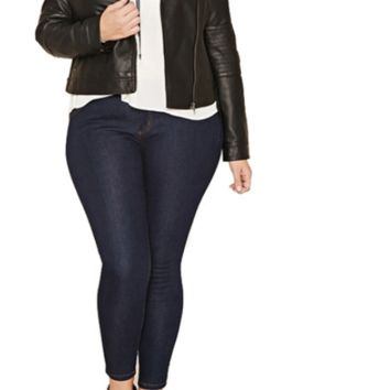 Solid black aviator jacket with zipper closure ~ Plus size