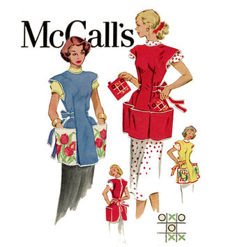 1950s Cobbler Apron Vintage Sewing Pattern Bust 32 34 McCalls 1713 Kitchen Apron, Full Cover Aprons, Retro Apron, Tic Tac Toe Potholder