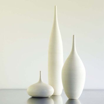 Large White Modern Ceramic Bottle Vase Trio by Sara Paloma