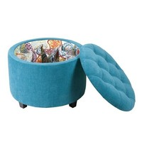 Madison Park Sasha Round Ottoman With Shoe Holder Insert - Teal - 24Wx24Dx18H""