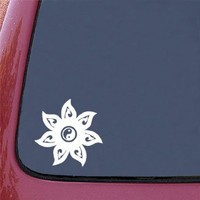 "Mandala - Yin Yang - Car Vinyl Decal Sticker - © Yadda-Yadda Design Co (5""w x 5""h) (WHITE)"