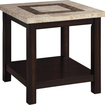"""Rosetta Collection CM4186E 23"""" End Table with Genuine Marble Table Top, Open Bottom Shelf and Wood Construction in Dark Walnut"""