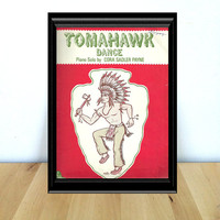 Tomahawk Dance, Native American Inspired Piano Solo Sheet Music {1977} Vintage Paper Ephemera