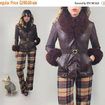 POP UP SALE Vintage 1970's Maroon Shaggy Penny Lane Fitted Leather Jacket With Mongolian Trim    Mint Condition     Size Xs to Small