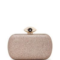 Evil Eye Glitter Minaudiere Evening Clutch Bag, Sand - Diane von Furstenberg