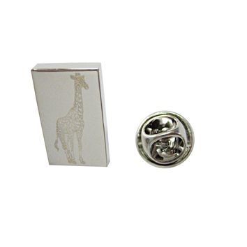 Silver Toned Etched Standing Giraffe Lapel Pin