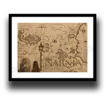 Chronicles of narnia world map, reproduction / reprint / replica. in A3 or A4 format