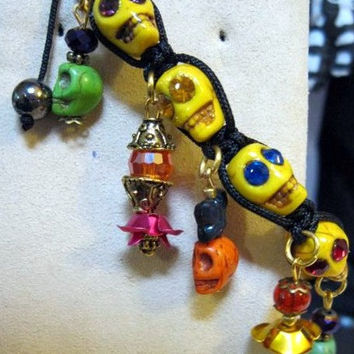 Day of the Dead Bracelet, Día de Muertos, Skull Jewelry, Halloween Handmade Sugar Skulls with Swarovski Crystal Eyes, Corded Bracelet, OOAK
