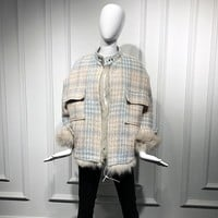 Women Winter Punk Fur Jackets Coats Brand Luxury Plaid Overcoats Faux Fox Fur Coat for Women Outwear