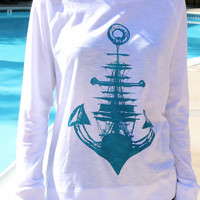 Sailboat & Anchor Nautical Print // Women's Lightweight Longsleeve // Anchor and Ship Screenprint Summer Shirt