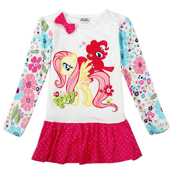 girls dress girls clothes kids dresses for girls novatx children clothing my littles pony appliques casual princess dress H6422D