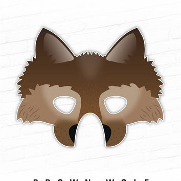 Printable Halloween Mask, Wolf Mask, Brown, Animal Mask, Dire Wolf Mask, Brown Wolf, Photo Booth Props, Direwolf, Little Red Riding Hood