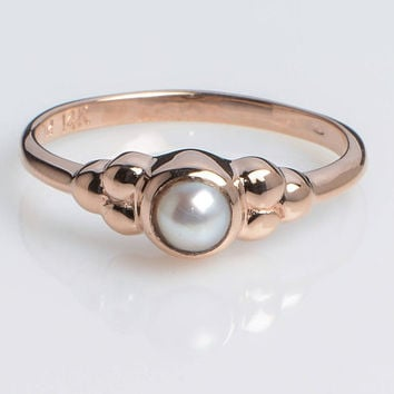 Classic Pearl Ring set in 14K Rose Gold// Vintage inspired HandMade Kisufim Jewelry signed by Ari Kasten
