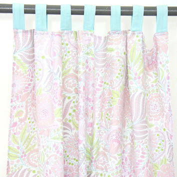 Sweet Caroline Ruffle Baby Bedding | Pastel Shades Pink Green and Blue Curtains