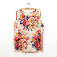 NEW Summer 2015 Vintage Chiffon Top Floral Printing Vest  Loose Women Tank Tops Printed Women's Vests Blouse Tee Plus Size