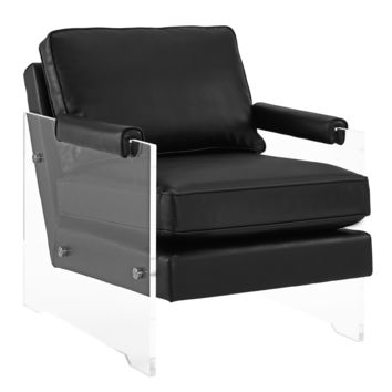GAVEN BLACK ECO LEATHER AND LUCITE CHAIR