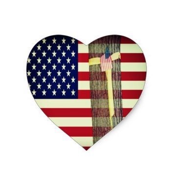 Patriotic American Flag and Yellow Ribbon Sticker