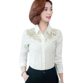 2018 Spring Fashion Lace Embroidery Patchwork Women Blouses Slim Long Sleeve Office Work Wear Shirt Women Tops Plus Size Blusas