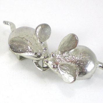 Vintage Mimi Di N  Designer Silver Plated Mice Belt Buckle Accessories
