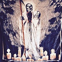 """75""""x90"""" Mexican ,Santa Muerte, Blanket, religious ,2inONE print, Korean Sumptuous knitted raschel mink .also can be Used as """"adult bed throw, bedspread,quilt,comforter,bed cover, coverlet"""""""