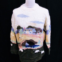Vintage 1980s Little House Sheep HandKnitted Jumper Sweater Medium
