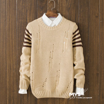 Casual Mens Comfortable Winter Warm Slim Fit Hollow Out Sweater