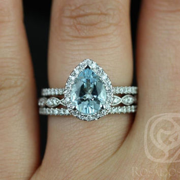 Tabitha 9x7mm & Christie 14kt White Gold Pear Aquamarine and Diamonds Halo TRIO Wedding Set (Other metals and stone options available)