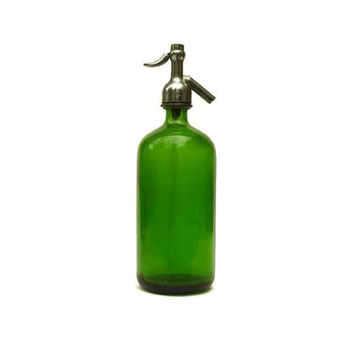 Emerald Green Glass Soda Siphon. Magnet Bottling New York Soda Bottle.