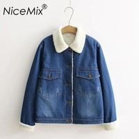 NiceMix 2017 Winter Jacket Women Warm Fur Thick Denim Jackets Frayed Bomber Jacket Loose Jeans Jacket Coat Streetwear Femme