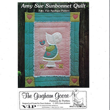 Amy Sue Sunbonnet Crib Quilt Pattern, UNCUT, The Gingham Goose, from 1979, Gwen Andrews, Home Decor Pattern, Vintage Pattern, Applique Baby