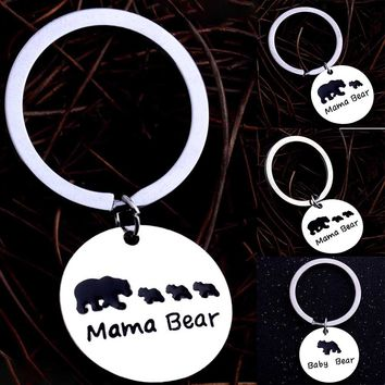 Family Mom Love Keychain Keyring Mother Children Baby MAMA Bear Keychain Women Bunny Fur Pompom Key Chains