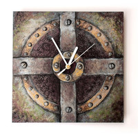 STEAMPUNK design WALL CLOCK, metallic colors steampunk art wall decor