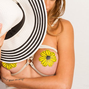 Pasties - Wildflower: Yellow and Black with Black Flower Nipple Pasties by Pastease® o/s