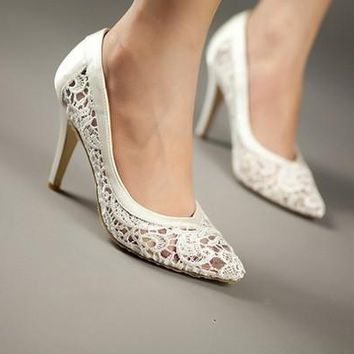 cutout satin fabric high heel sexy lace wedding shoes shallow mouth pointed toe genuin