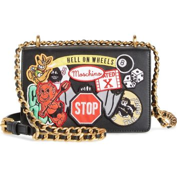Moschino Multi Patch Leather Chain Shoulder Bag | Nordstrom