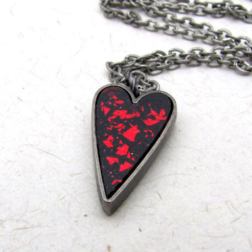 Shattered Red Heart Necklace  Sparkle Red and by AshleySpatula