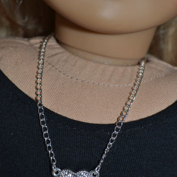 American Girl/ 18 in doll rhinstone heart necklace