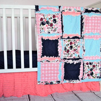 Carina Crib Set in Coral & Navy - Coral Baby Bedding - Rag Quilt, Crib Skirt, Sheet, Bumpers