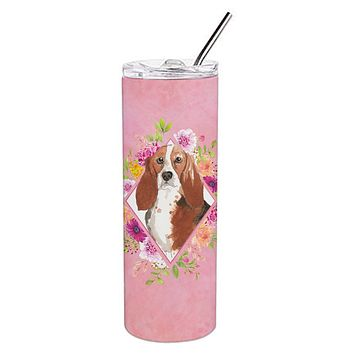 Basset Hound Pink Flowers Double Walled Stainless Steel 20 oz Skinny Tumbler CK4266TBL20