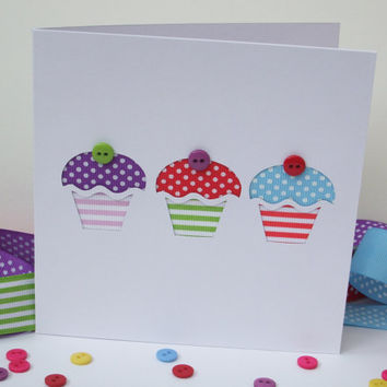 Handmade Birthday Card - Cupcakes Birthday Card made with ribbon and buttons