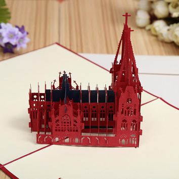 Factory direct three-dimensional Cologne Cathedral creative DIY 3D building business card paper hollowed out cards