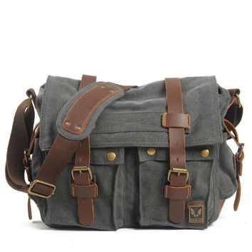 Dark Gray Canvas Leather Camera Bag Leisure Shoulder Bag Messenger Bag DSLR Camera Bag 2138D