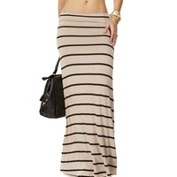 Taupe/Black Striped Maxi Skirt