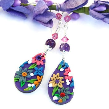 Purple Pink Flower Earrings, Polymer Clay Embroidery Floral Jewelry