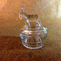 Vintage Donkey Figure Lidded Candy Dish - Clear Glass - Bowl with Lid has Donkey or Mule Standing