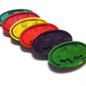 6 Batman Inspired Layered Crayons in Organza Bag - Birthday Party Favors